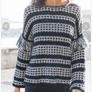 Indigenous Fringe Sweater Black White Small NWT